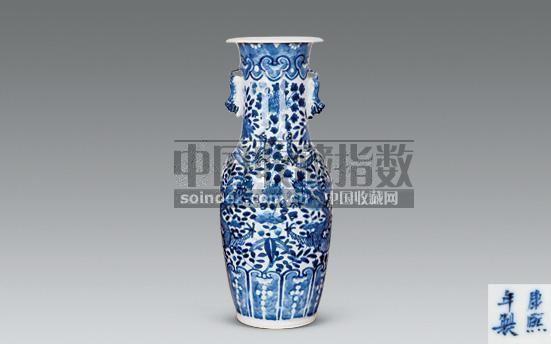 青花龙穿花兽耳瓶 -  - 瓷玉珍玩 - 2008秋季艺术品拍卖会 -收藏网