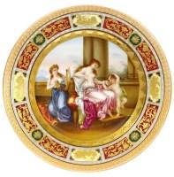"""维也纳风格 彩绘陶盘""""慈母与小孩"""" -  - 装饰美术 - 2011秋季伊斯特香港拍卖会 -收藏网"""