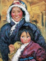 卓玛的喜悦 布面 油画 - 157178 - 油画、雕塑、版画暨广东油画、水彩 - 2006冬季拍卖会 -收藏网