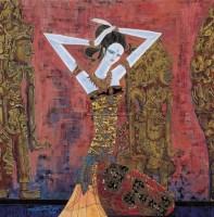 丁绍光 芭厘神殿 纸本岩彩 - 118310 - 中国油画 - 2006秋季艺术品拍卖会 -收藏网