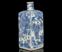 A BLUE AND WHITE SQUARE SECTIONED BOTTLE VASE,WANLI (1753-1619) -  - 中国进出口瓷器 - 2009秋季拍卖会(二) -收藏网