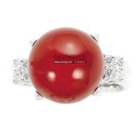 珊瑚 钻石 铂金戒指 -  - 珠宝翡翠专场 - 2011秋季伊斯特东京拍卖会 -收藏网