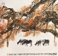 五牛图 镜片 设色纸本 - 杜应强 - 岭南名家书画 - 2011年春季拍卖会 -收藏网