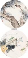 秋趣图圆光 (二帧) 镜心 设色纸本 - 116837 - 海外华人藏近现代书画专场 - 2011秋季拍卖会 -收藏网