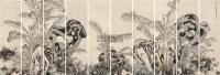 通景蕉石图 (十条) 通景屏 设色纸本 - 周鼐 - 《翰越堂》书画专场 - 2011秋季艺术品拍卖会 -收藏网