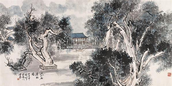 岱庙汉柏图 横幅 设色纸本 - 129692 - 中国书画(二) - 2009春季大型艺术品拍卖会 -收藏网