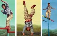 王根深 2005年作 穿红鞋的男孩(组画) 布面 油画 -  - 中国当代油画 - 2006首届中国国际艺术品投资与收藏博览会暨专场拍卖会 -收藏网