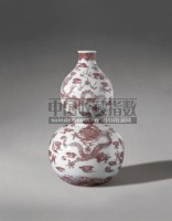 PERIOD OF QIANLONG A FINE AND RARE COPPER-RED DECORATED DOUBLE-GOURD VASE -  - Qing Porcelain and Works of Art from a Private Col - 2007年秋季拍卖会 -收藏网