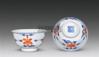 青花红彩花卉纹杯 (一对) -  - 瓷器 - 嘉德四季第二十六期拍卖会 -收藏网