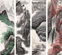 山水 四屏 设色纸本 - 高相国 - 中国书画 - 第117期月末拍卖会 -收藏网