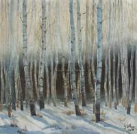 白桦林 木板油画 - 乌叔养 - 中国油画及雕塑 - 2006年秋季拍卖会 -收藏网