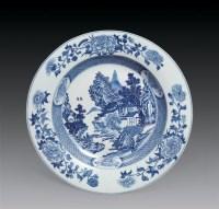 清乾隆 青花山水纹盘 -  - 瓷器古董珍品 - 2006首届慈善拍卖会 -收藏网