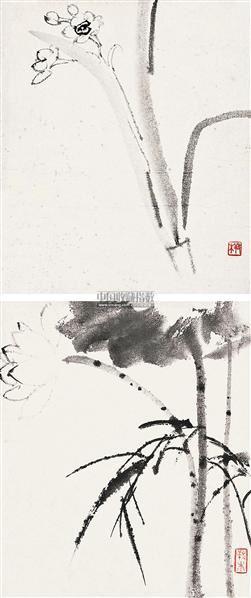 水墨花卉 册页 (十开选二) - 139987 - 森林之洲艺术会所收藏书画专场