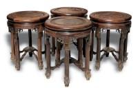 清 红木瘿木面竹凳 (四只) -  - 明清古典家具 - 2007春拍瓷器雅玩家具拍卖 -收藏网