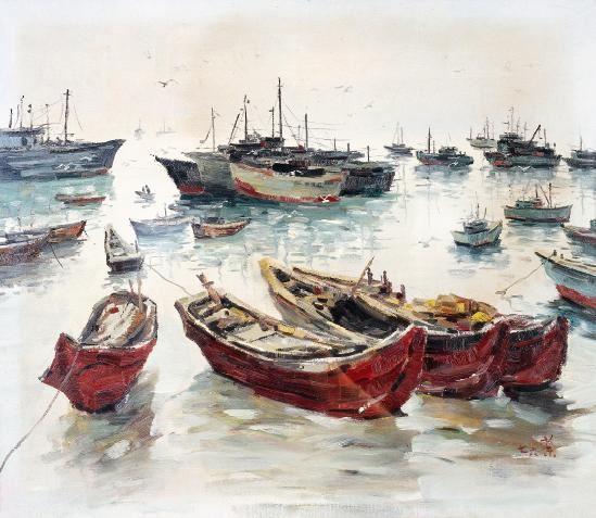 吴冠中 1976年作 渔港 布面 油画 - 115966 - 油画 - 2006年金秋珍品拍卖会 -收藏网