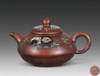 紫砂加彩熊猫纹壶 -  - 杂项 玉石 - 2011年春季拍卖会 -中国收藏网