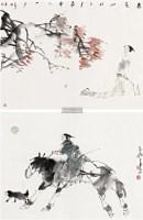 小品 (两帧) 镜框 设色纸本 - 117681 - 名家作品(一) - 第16届广州国际艺术博览会名家作品拍卖会 -中国收藏网