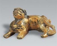 铜鎏金独角兽镇纸 -  - 中国瓷器 杂项 玉器 - 2008秋季拍卖会 -收藏网