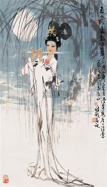 玉人何处教吹箫 镜心 设色纸本 - 17053 - 中国当代书画 - 2006冬季拍卖会 -收藏网