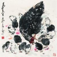 母子图 镜心 设色纸本 - 119122 - 中国书画专场 - 2008年迎春艺术品拍卖会 -收藏网