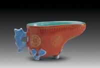 珊瑚红描金匜式水盂 -  - 古董珍玩专场 - 2008首届秋季大型古玩书画拍卖会 -收藏网