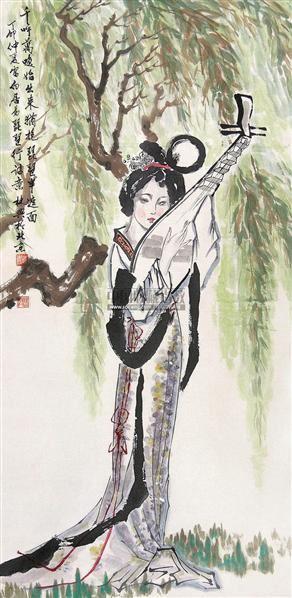 琵琶女 立轴 设色纸本 - 123322 - 中国书画 - 第117期月末拍卖会 -收藏网