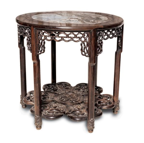 清 红木镶云石竹笼台 - - 明清古典家具 - 2007春拍瓷器雅玩家具拍卖