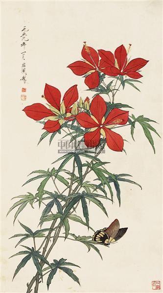 花蝶图 立轴 - 116800 - 中国书画 - 2011年春季艺术品拍卖会 -收藏网