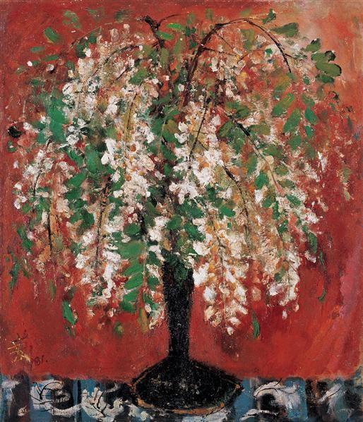 槐花 木板  油画 - 132410 - 现代中国艺术 - 2006秋季拍卖会 -收藏网