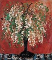 槐花 木板  油画 - 苏天赐 - 现代中国艺术 - 2006秋季拍卖会 -收藏网