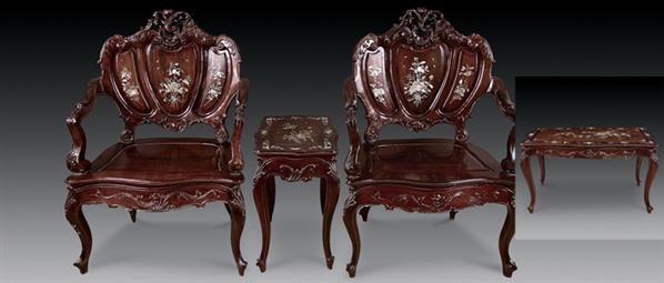 红木镶螺钿西式椅 (九件套) - - 明清古典家具 - 2008迎春明清古典