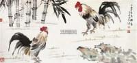斗鸡图 设色纸本 - 徐悲鸿 - 书画 - 2012新年艺术品拍卖会 -中国收藏网