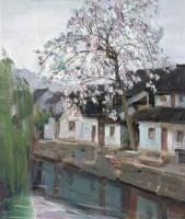 门前的桃花红 布面 - 张祖英 - 中国油画 - 艺术品拍卖会(第60期) -收藏网