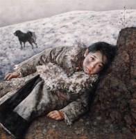 远方飘来陌生的歌 布面油彩 - 6025 - 中国油画(一) - 2006年中国艺术品春季拍卖会 -收藏网