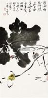 荷花 立轴 设色纸本 - 119597 - 中国书画 - 2011首届书画精品拍卖会 -中国收藏网