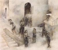 石磊 1989年作 街头的讨论 布面 油画 - 石磊 - 中国当代油画 - 2006首届中国国际艺术品投资与收藏博览会暨专场拍卖会 -收藏网