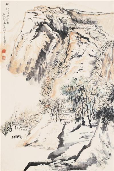 陕北秋色 立轴 设色纸本 - 4513 - 中国书画 - 2006艺术品拍卖会 -收藏网