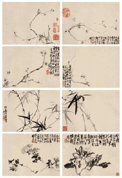 花卉 册页 (八开) 水墨纸本 - 116888 - 中国书画(古代)专场 - 2007春季拍卖会 -收藏网