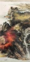 秋出夕阳图 镜架 设色纸本 - 陈亮 - 中国近现代书画艺术品 - 2010年春季拍卖会 -中国收藏网