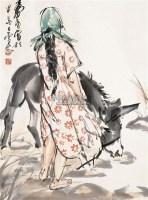 毛驴少女 镜心 纸本 - 7693 - 中国书画(一) - 2011春季艺术品拍卖会 -收藏网