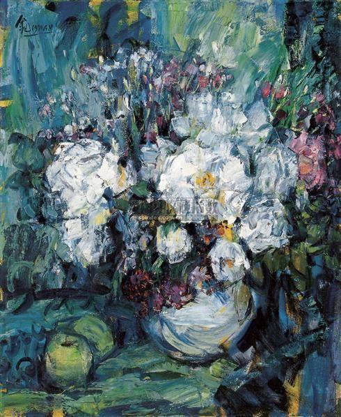 花卉 布面  油画 - 158325 - 中国油画雕塑 - 2007春季艺术品拍卖会 -收藏网