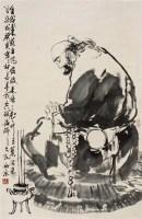 达摩面壁图 立轴 设色纸本 - 5525 - 中国书画(一) - 2012迎春拍卖会 -收藏网
