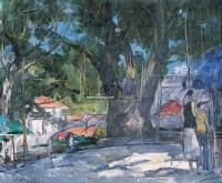 榕树下 布面 油画 - 邱瑞敏 - 中国油画 雕塑影像 - 2006广州冬季拍卖会 -收藏网