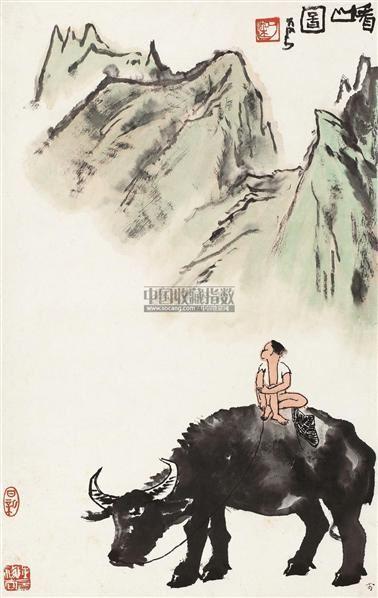 看山图 立轴 设色纸本 - 139817 - 中国书画专场 - 首届艺术品拍卖会 -收藏网