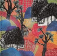 胡冰美丽家园 镜心 设色纸本 - 3338 - 中国书画 - 2006年秋季拍卖会 -收藏网