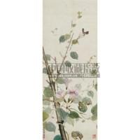 蝴蝶花卉 镜心 设色纸本 - 张坤仪 - 中国书画 - 2008秋季拍卖会 -中国收藏网