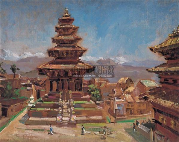 美丽之城的那塔波罗庙 木板 油画 - 141283 - 中国油画及雕塑(上) - 2008春季拍卖会 -收藏网