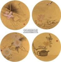 花鸟 (四帧) 镜片 设色金笺 -  - 神工意蕴 工笔画 - 2011年首届拍卖会 -收藏网