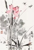 荷花 立轴 设色纸本 - 38099 - 中国书画(二) - 2011秋季艺术品拍卖会 -中国收藏网
