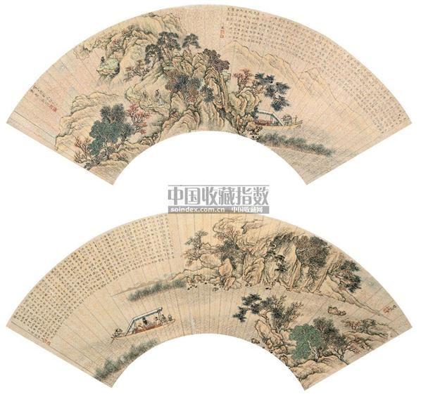 徐锡康   楚汉   润山 山水人物 扇面 纸本 -  - 中国书画(二) - 2006年第4期嘉德四季拍卖会 -收藏网